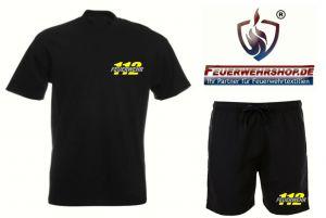 Badeshorts + T-Shirt mit gesticktem 112 / FEUERWEHR Logo