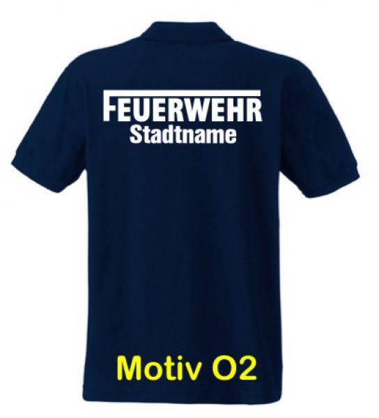 Feuerwehr Poloshirt mit Ortsname Motiv O2
