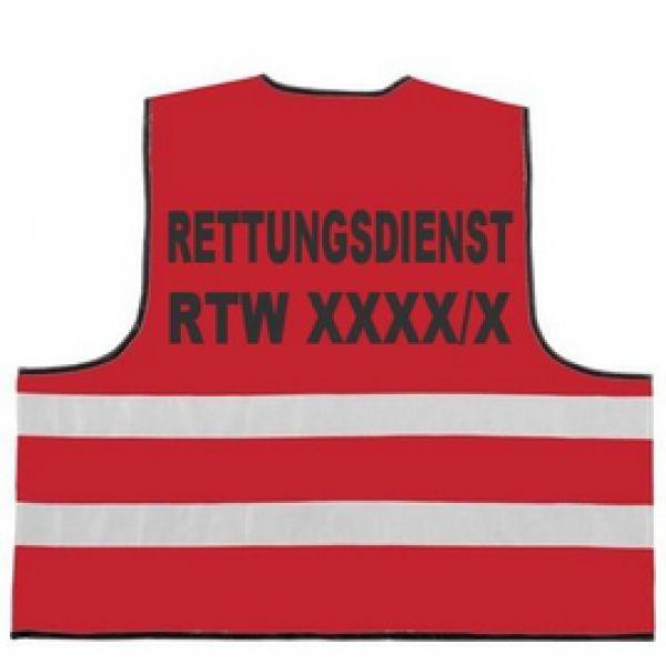 Rettungsdienst Funktionsweste 2-zeilig RETTUNGSDIENST / RTW