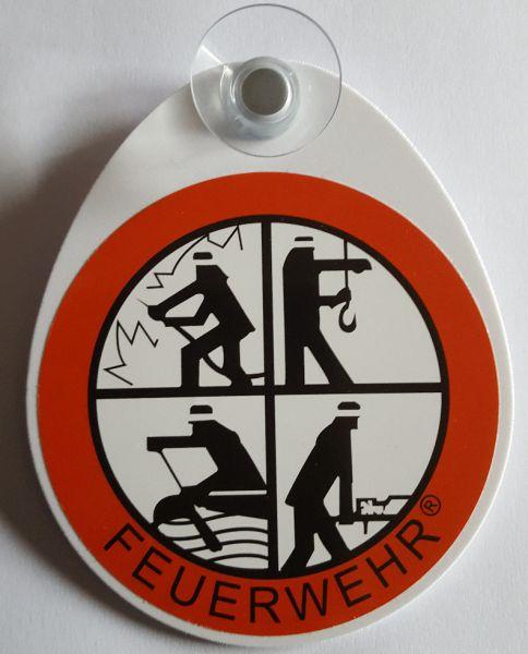 FEUERWEHR Autoplakette mit FW-Signet inkl. Saugnapf
