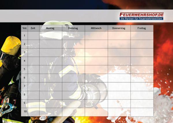 Feuerwehr Stundenplan, DIN A4 Quer (29,7 cm x 21,0 cm)