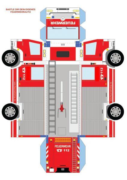Bastelbogen Feuerwehrauto , DIN A4