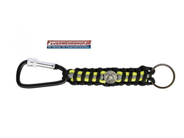 Feuerwehr Paracord Schlüsselanhänger - schwarz / reflex