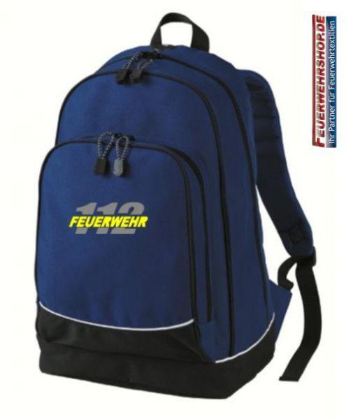Freizeit Rucksack mit gesticktem FEUERWEHR / 112 Logo