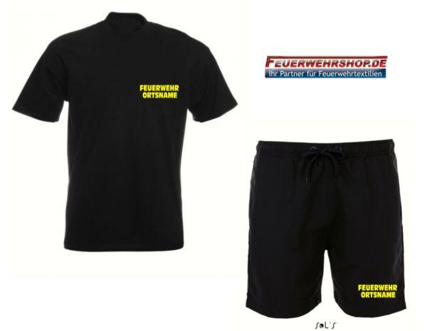 Badeshorts + T-Shirt mit gesticktem FEUERWEHR und ORTSNAME
