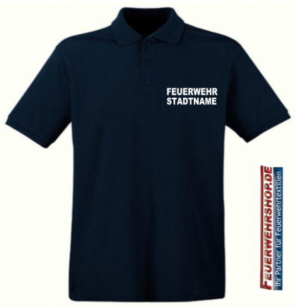 Feuerwehr Poloshirt mit gesticktem FEUERWEHR / STADTNAMEN