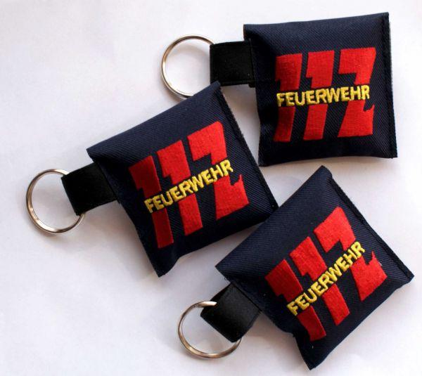 Lifekey mit Beatmungsfolie - Tasche bestickt mit 112 / FEUERWEHR