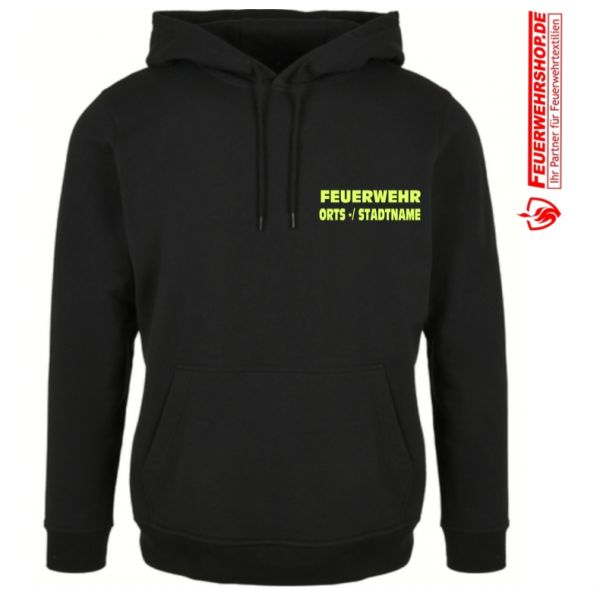 Feuerwehr Premium Kapuzenshirt mit gesticktem FEUERWEHR und ORTS -/ STADTNAME , 2-zeilig (S - 8XL !)